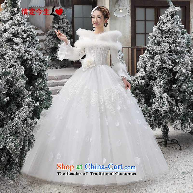 Love of the overcharged winter wedding dresses winter 2015 new Korean winter gross for thick winter of long-sleeved_ Cotton White?XS