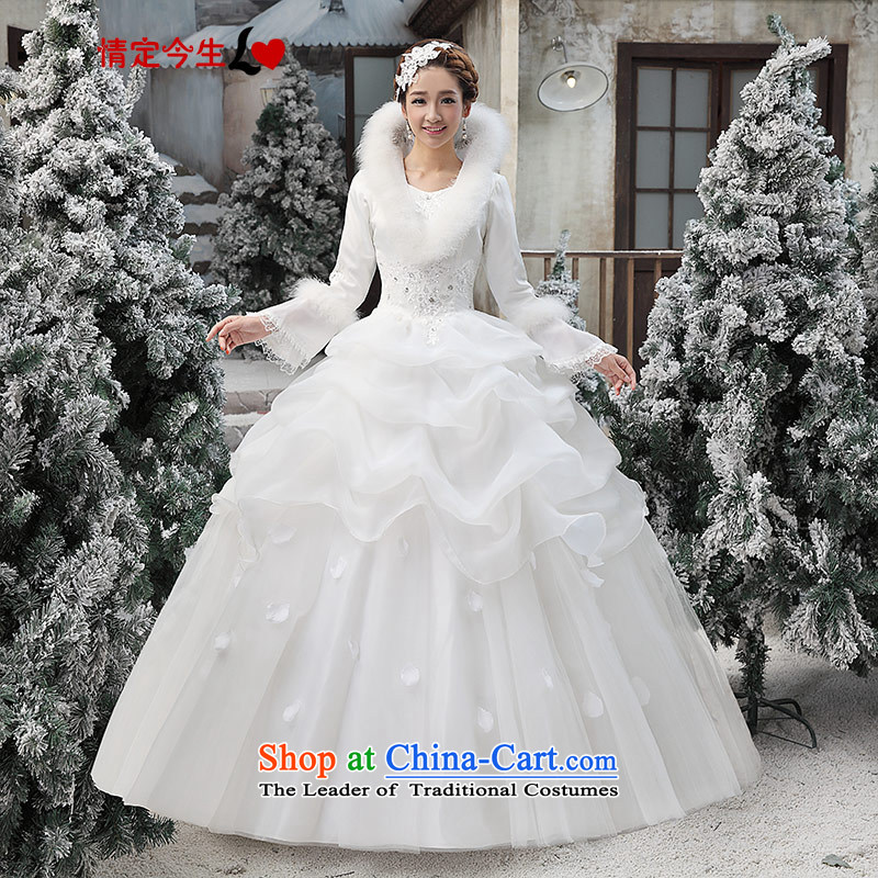 Love of the overcharged wedding dresses new 2015 Korean wiping the chest white autumn and winter marriages to align the wedding dress female White?XL