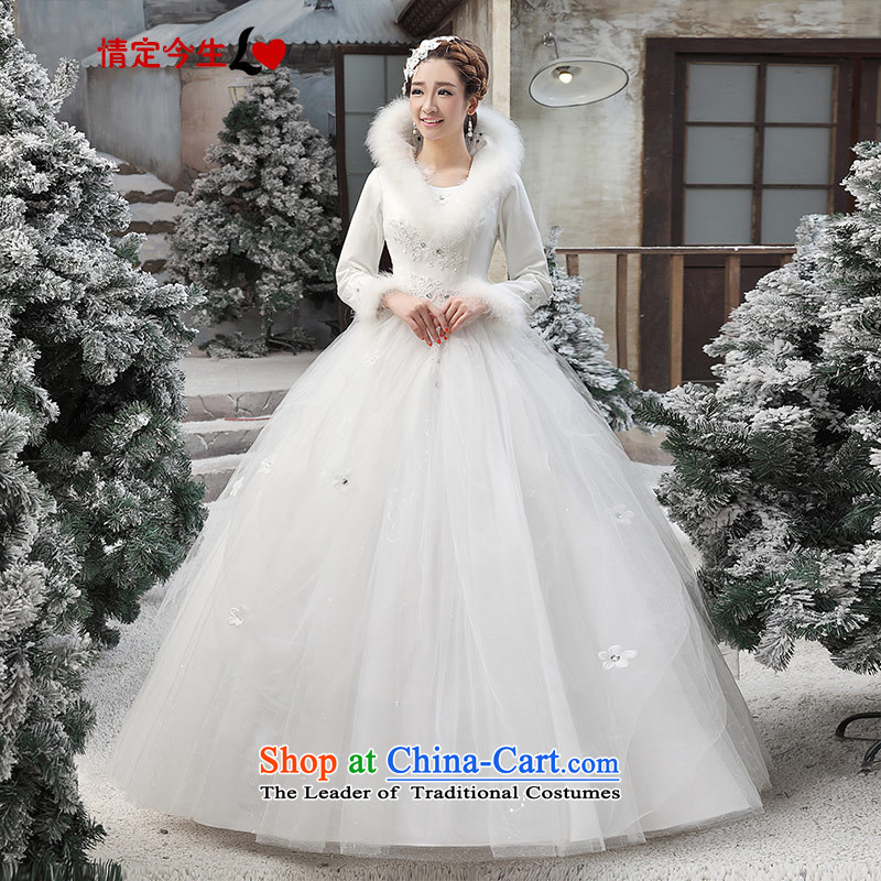 Love of the overcharged winter wedding dresses winter 2015 new Korean winter gross for thick winter of long-sleeved_ COTTON 04 White M 2 feet waist
