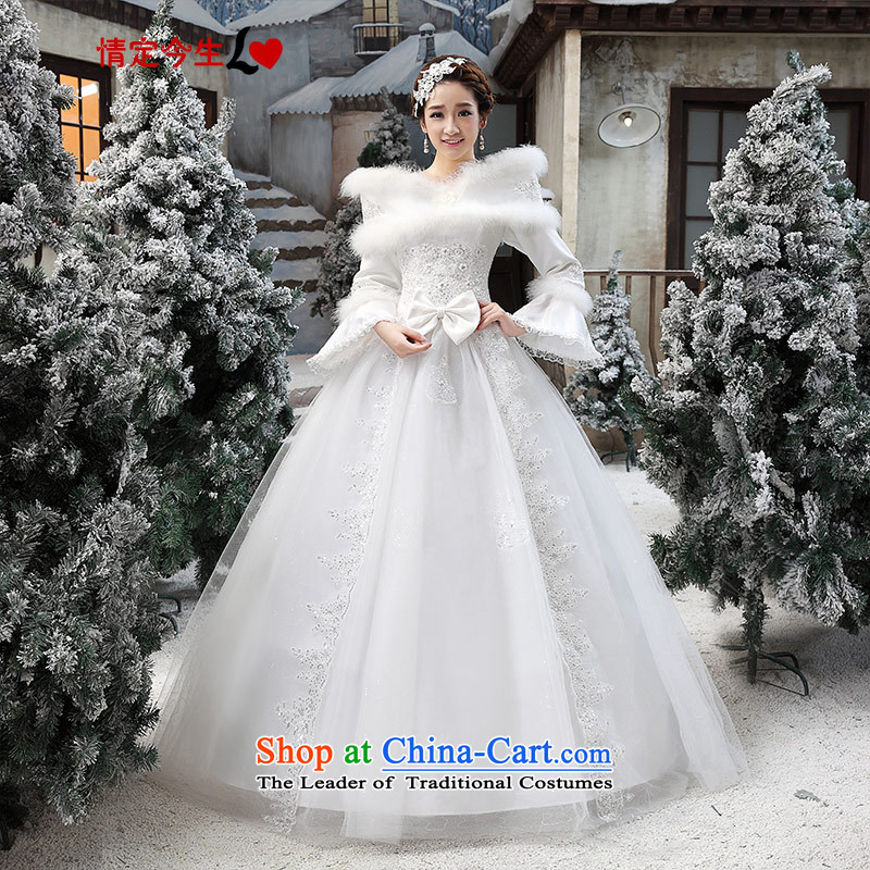 Love of the overcharged Korean wedding dresses new Word 2015 shoulder white autumn and winter thick marriages Foutune of large white marriage solemnisation S