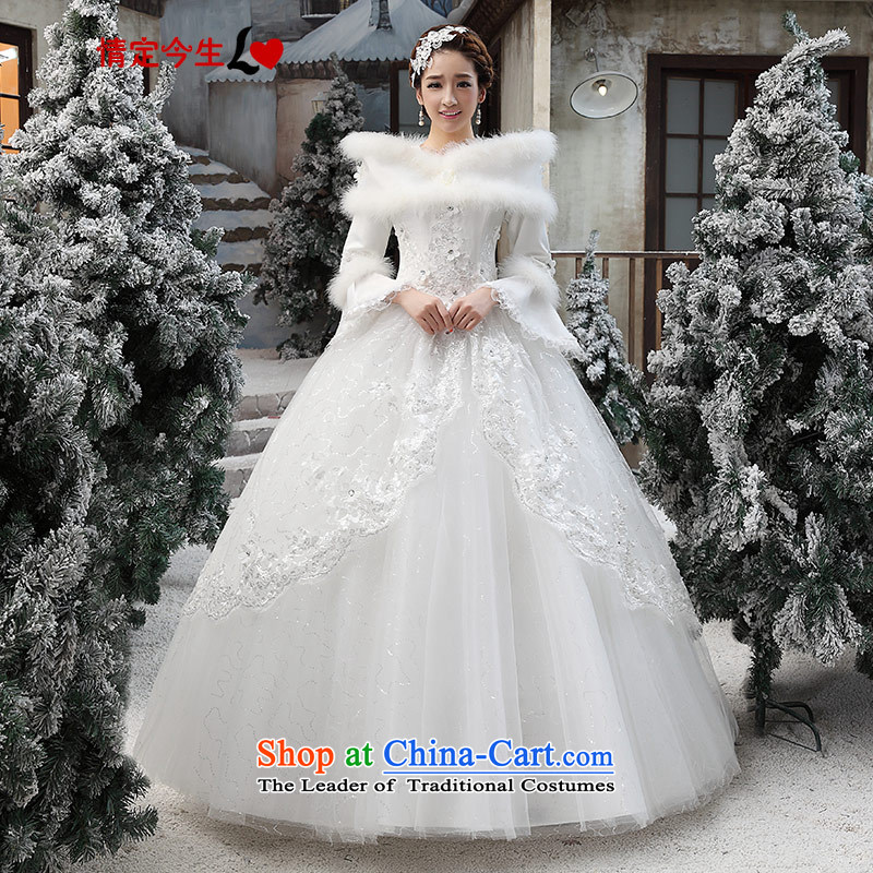 Love of the overcharged wedding dresses new 2015 Korean wiping the chest white autumn and winter Korean marriages to align the drag and drop white S