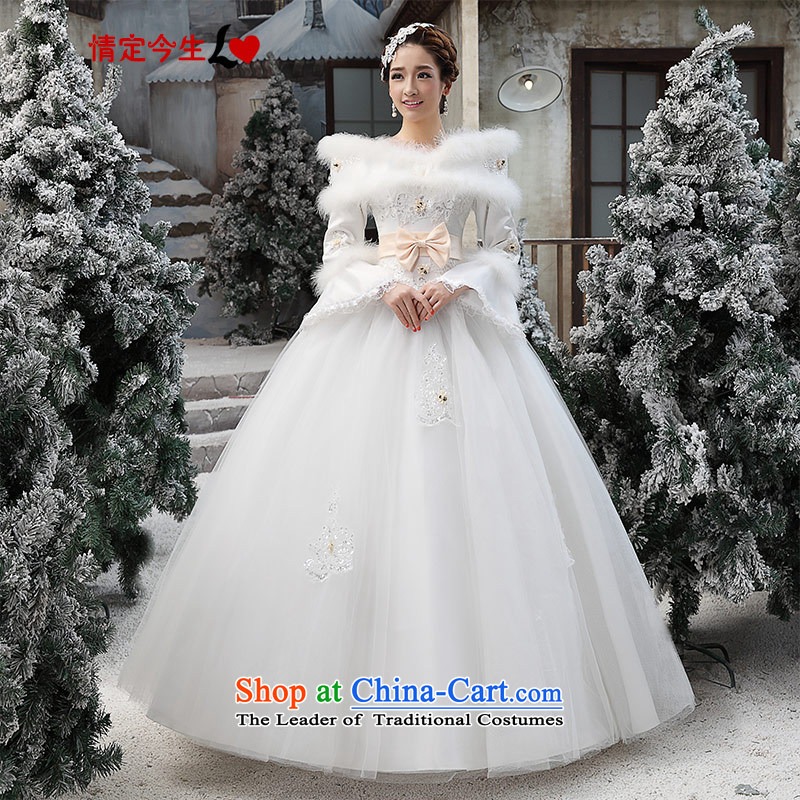 Love of the overcharged winter wedding dresses winter 2015 new Korean winter gross for thick winter of long-sleeved) COTTON 07 White?XXL