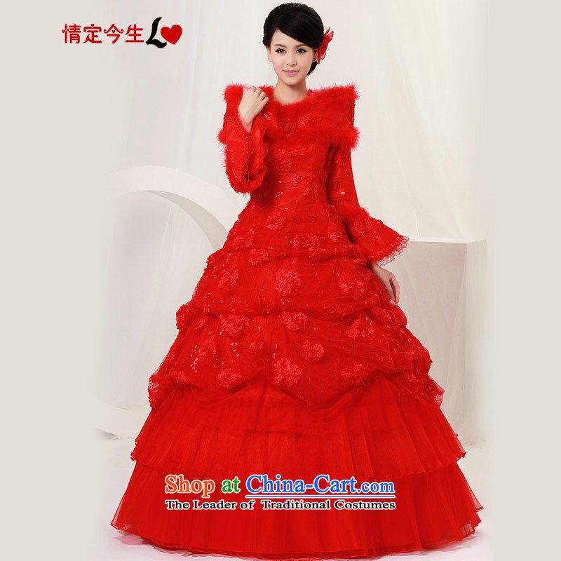Love of the life of the new 2015 Korean winter wedding thick red bride wedding dress warm winter Foutune of red?M?2 feet waist