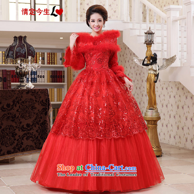 Love of the overcharged wedding dresses 2015 winter clothing new Korean long-sleeved red slotted shoulder for thick winter of gross cotton red L