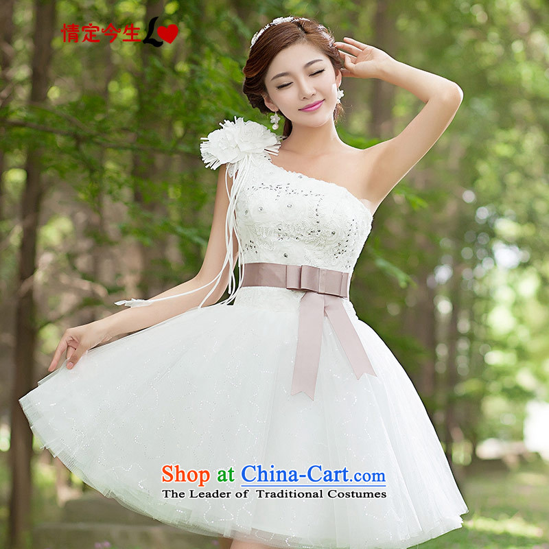 Love of the overcharged by 2015 new bridesmaid short, wedding dresses bride short skirts small stylish bridesmaid service dress single shoulder type white Foutune of white- S