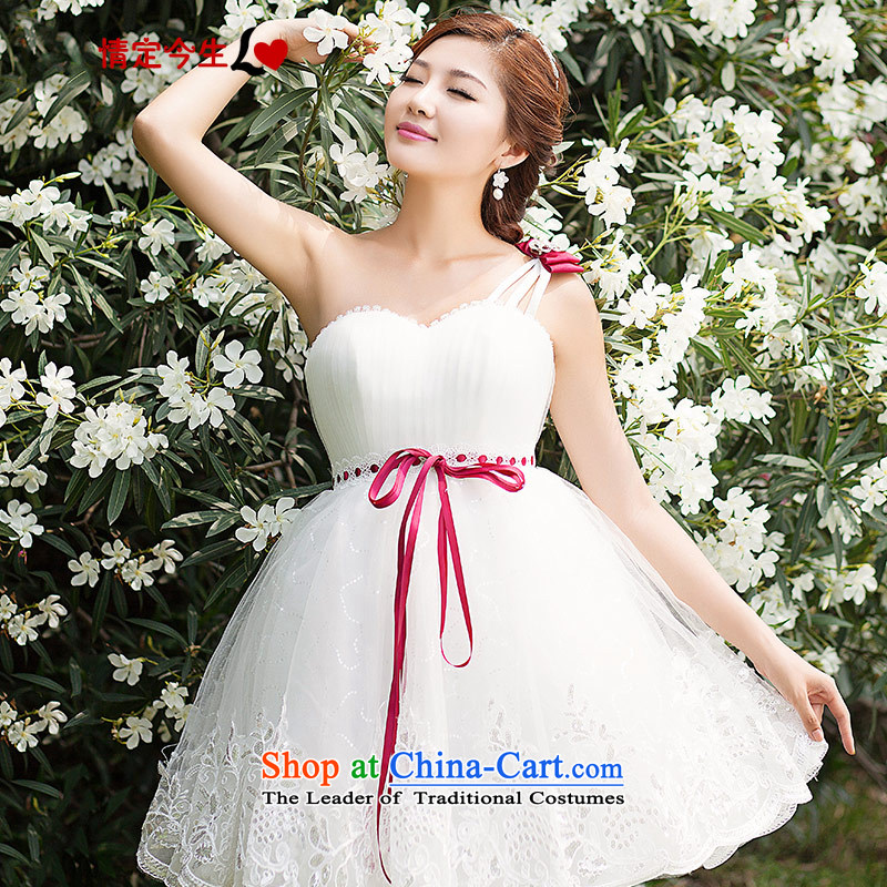 Love of the overcharged bride short, Bridal Suite 2015 new bridesmaid dress shoulder Toastmaster of dress short skirt lace Korean Foutune of white?XS