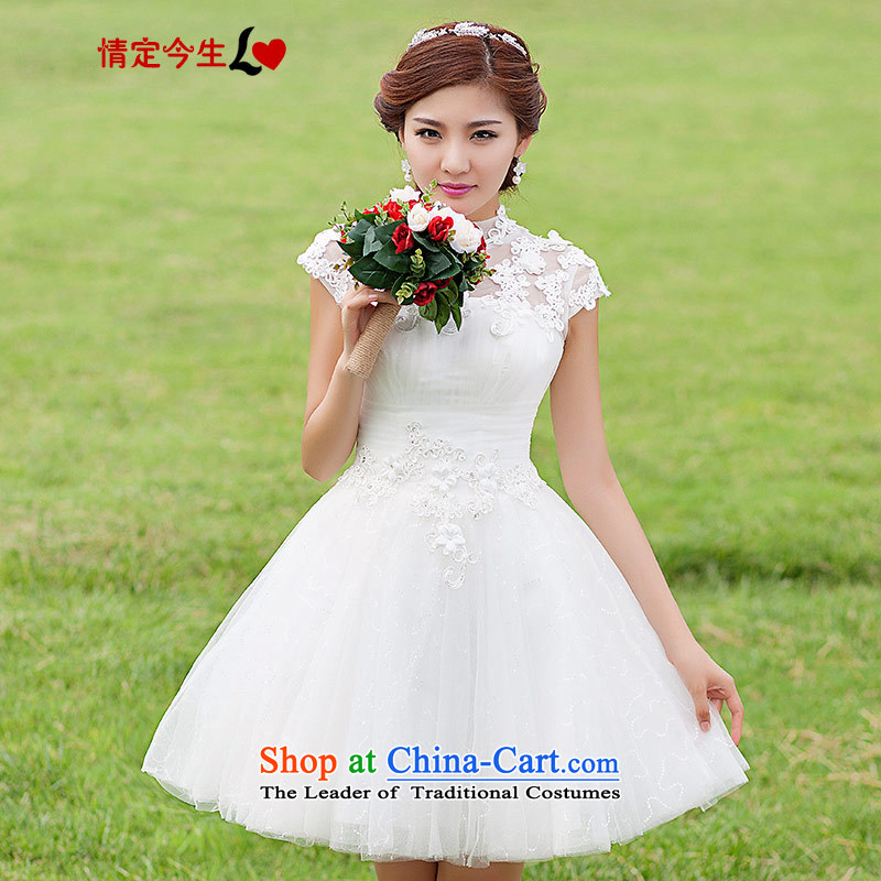 Love of the overcharged wedding dresses new 2015 Korean brides short of a field shoulder bridesmaid small skirt white lace foutune-white tailor-made exclusively concept