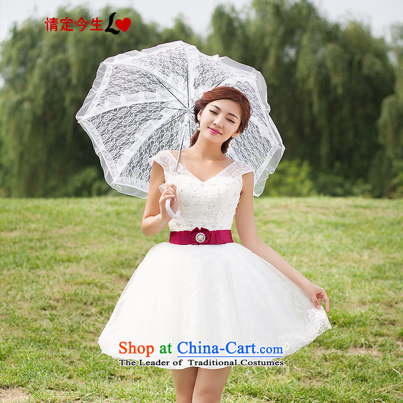 Love of the short life of wedding dresses?2015 new evening bridesmaid lace bride shoulders wedding dress female white?XXXL