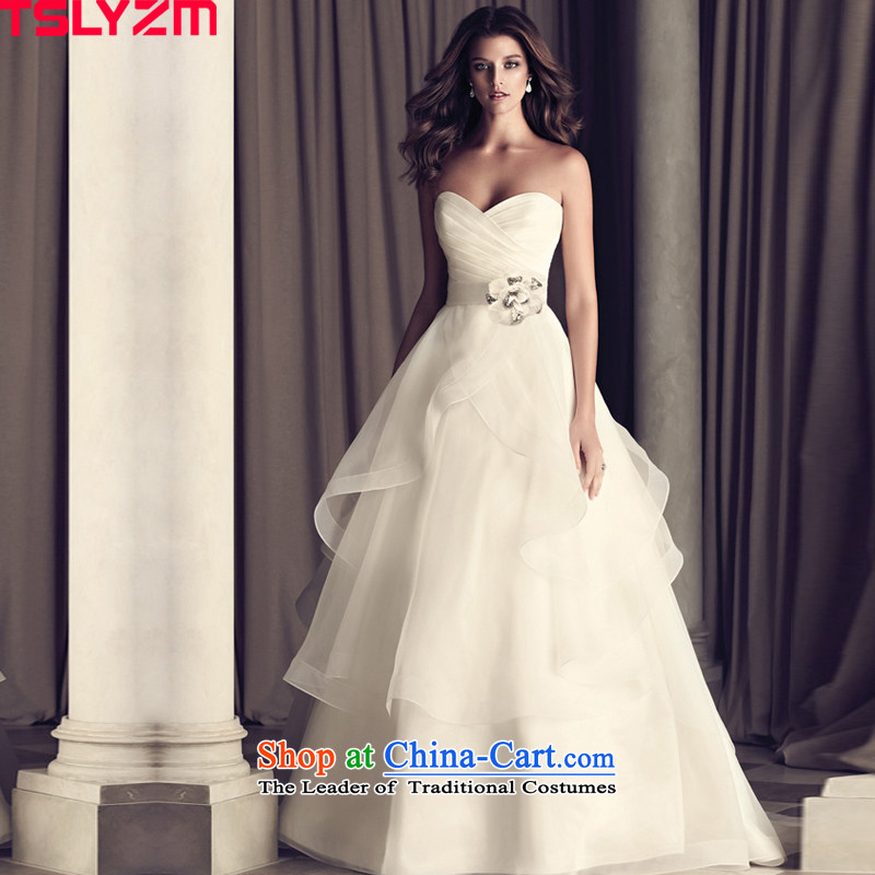 The new 2015 autumn and winter western anointed chest small trailing wedding dresses bridal lace retro straps water drilling large thin graphics custom European root of pregnant women White?XL