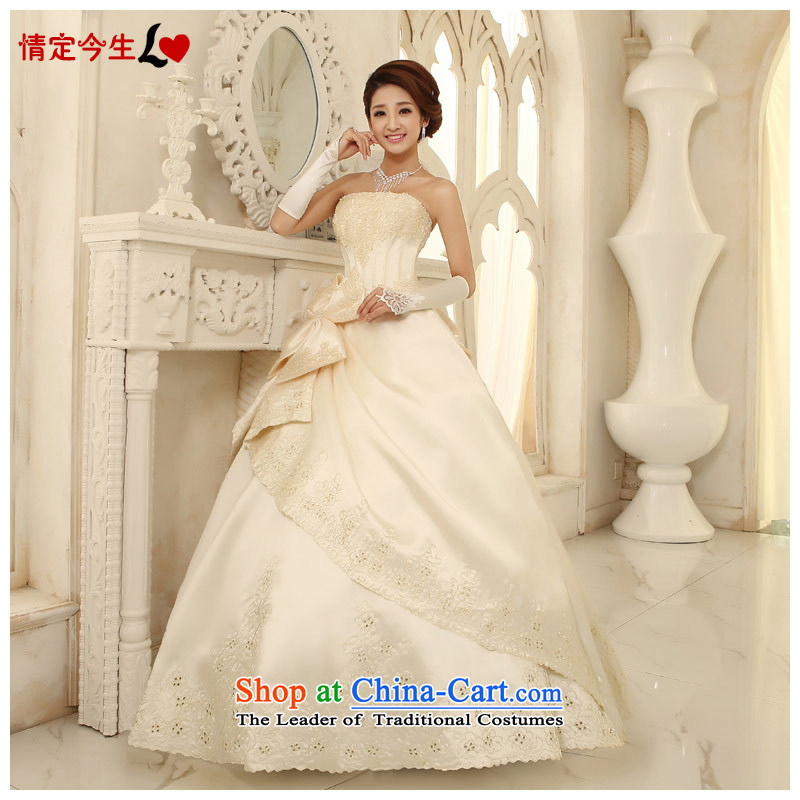 Love of the overcharged wedding dresses new 2015 Korean alignment with Chest Korean sweet summer, Bow Tie Foutune of type wedding dress champagne color?XXL