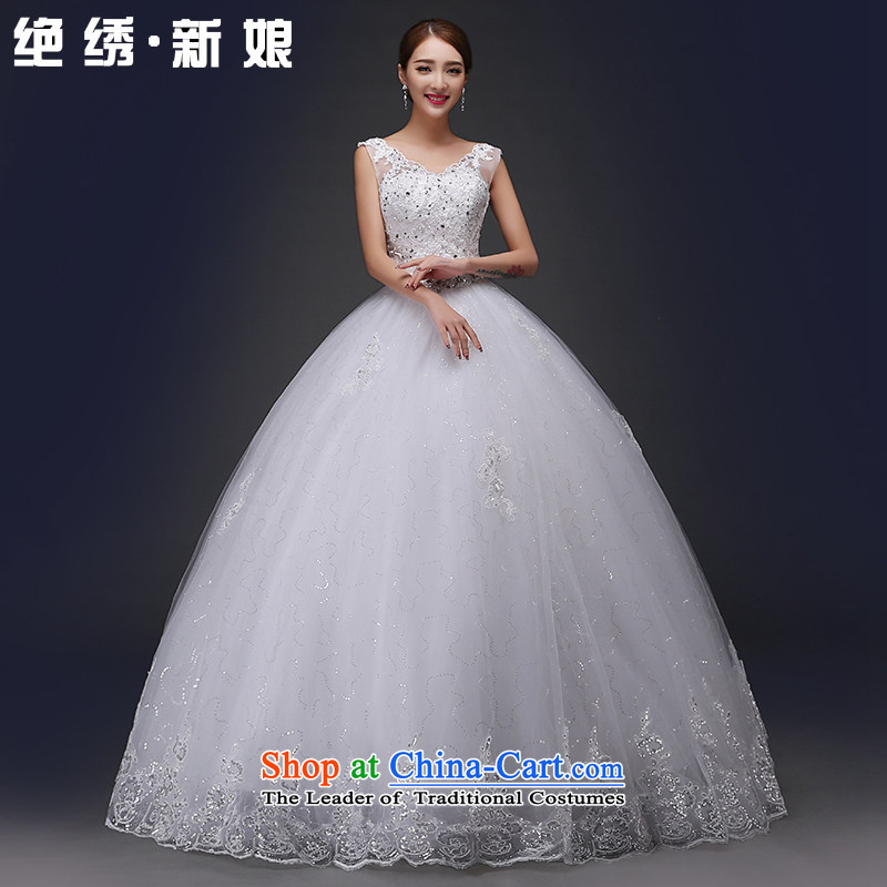No聽new 2015 bride embroidered summer marriage Korean Sau San shoulders to align the strap to align the white wedding, tailored does not allow