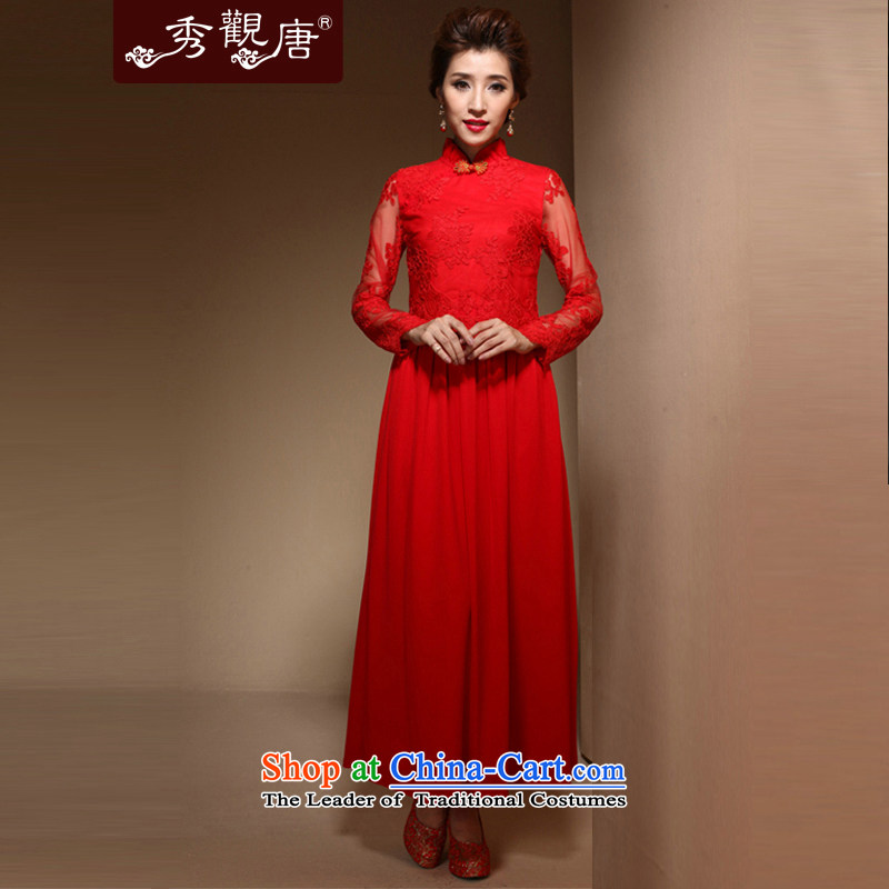 [Sau Kwun Tong] Hei about 2015 bride qipao gown spring new red long marriage back door onto FX3904 bows red?S