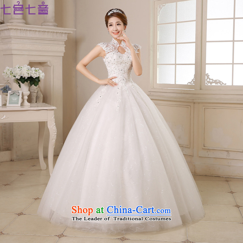 7 Color 7 tone Korean new stylish 2015 lace a field package to align the shoulder wedding wedding dresses聽H031 bride聽White聽XL