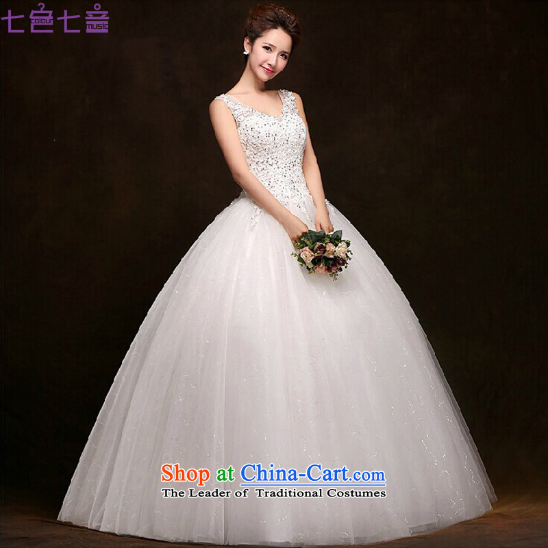 7 Color 7 tone won 2015 summer edition white bride to align the new V-neck in the stylish retro lace, wedding dresses?H032?white tailored (does not allow)