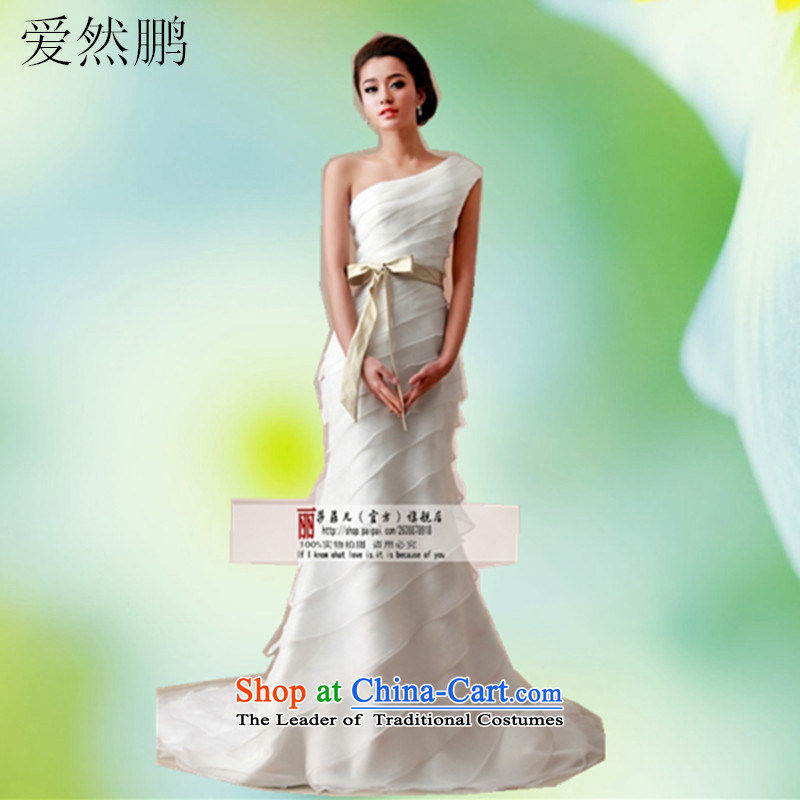 2014 new wedding shoulder tail small crowsfoot video thin bride wedding dresses XL package returning