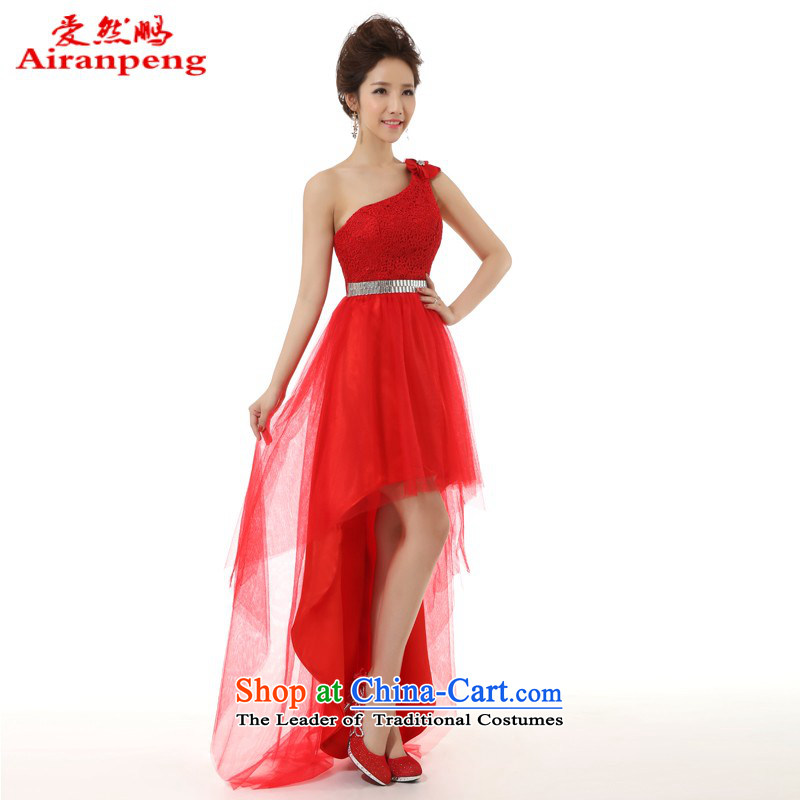 Love So Peng new bows services 2014 Front after short frockcoat marriages evening dresses long red?XL package will return