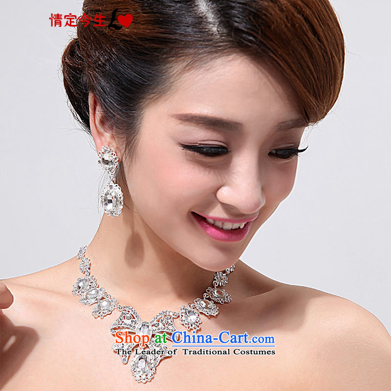 Love of the overcharged bride necklace earrings marriage Jewelry Ornaments Kit water drilling A09 Wedding White