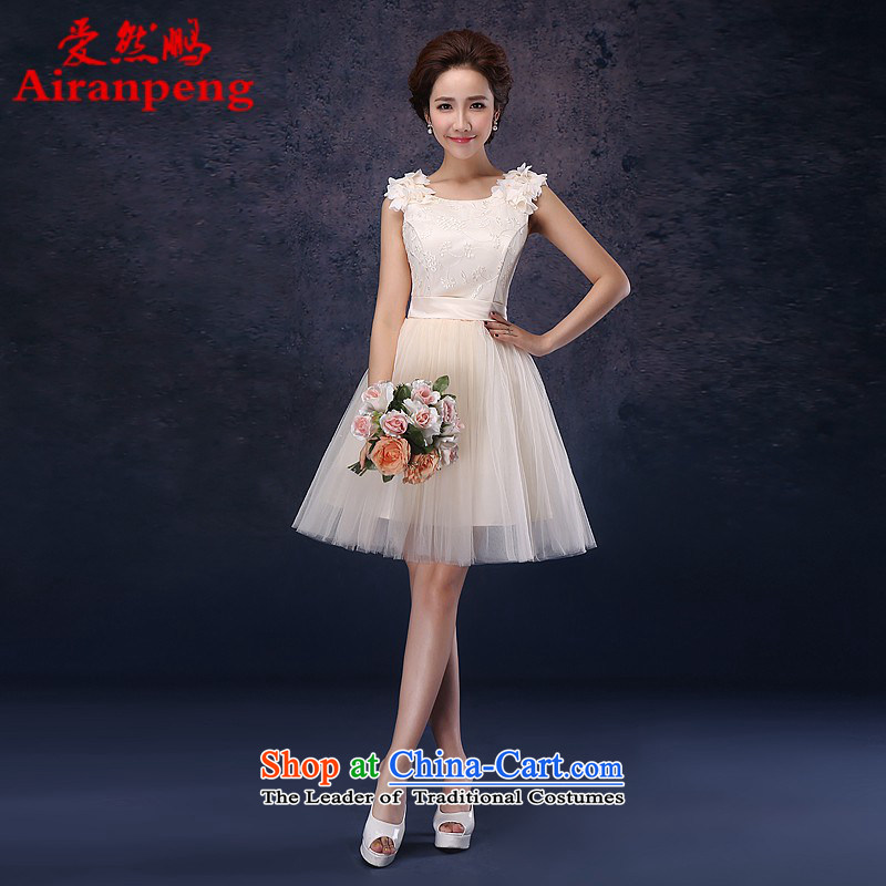 Love So Peng dress 2014 new bride short of red bows to dress marriage princess bridesmaid small dress champagne color?do not need to be XXL returning