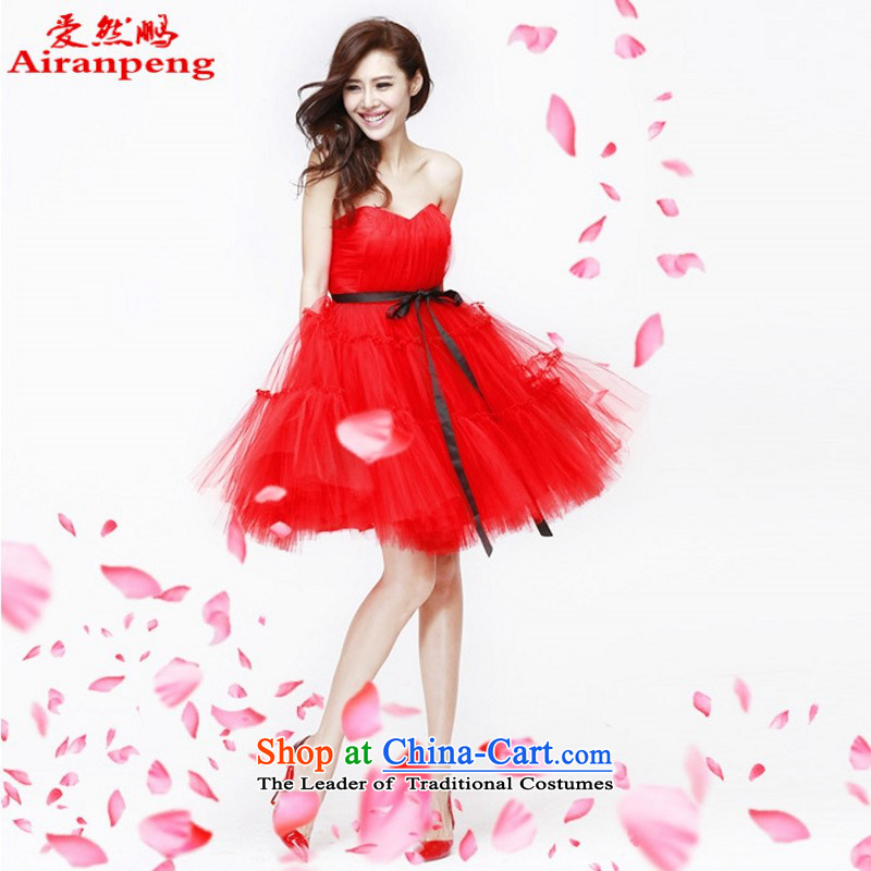 Love So Peng 2014 new high-lumbar pregnant women dress marriages bows red length of service of purple evening dress bon bon red?XL package returning