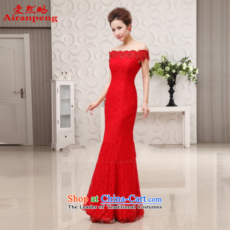 Love So Peng marriages bows to red long?2014 stylish crowsfoot lace a qipao gown field will?need to shoulder a made no XXL Return