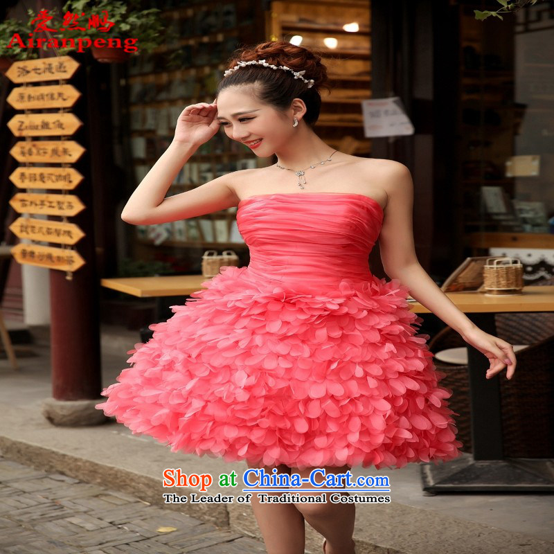 Love So Peng red bride replacing bridesmaid bows services dress marriage evening dresses wedding small wedding dresses spring and summer short of watermelon red聽XXXL call for tailor-made no allowance