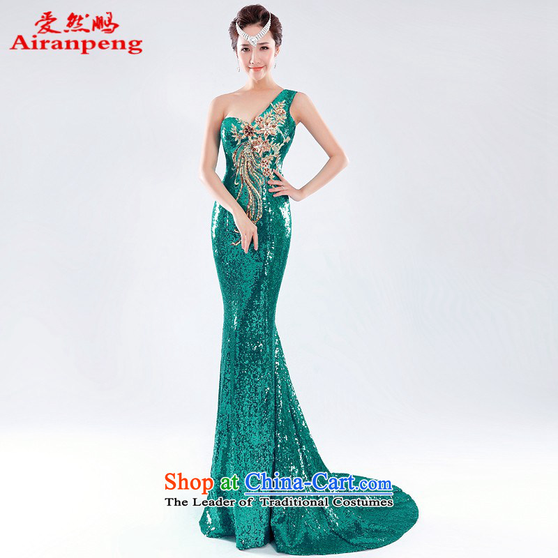Love So Peng shoulder lace on-chip crowsfoot evening dresses new marriages bows service long crowsfoot Sau San will green�XL package returning