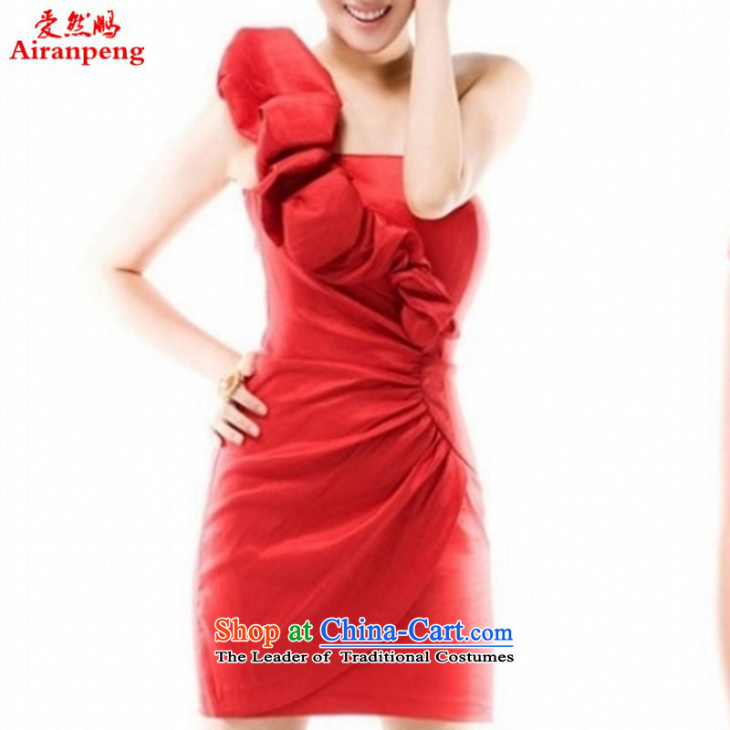Love So Peng Chau spring of 2014 New Evening Dress Short of a Korean version of the shoulder felt that the small dress bows dress Dresses?Need to make red XXXL not refunded