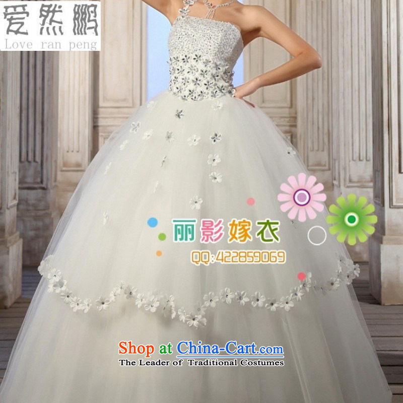 Love So Peng Korean style wedding dresses 2014 new shoulder wedding Beveled Shoulder sweet Korean Princess elegant wedding straps do not need to be XXL returning