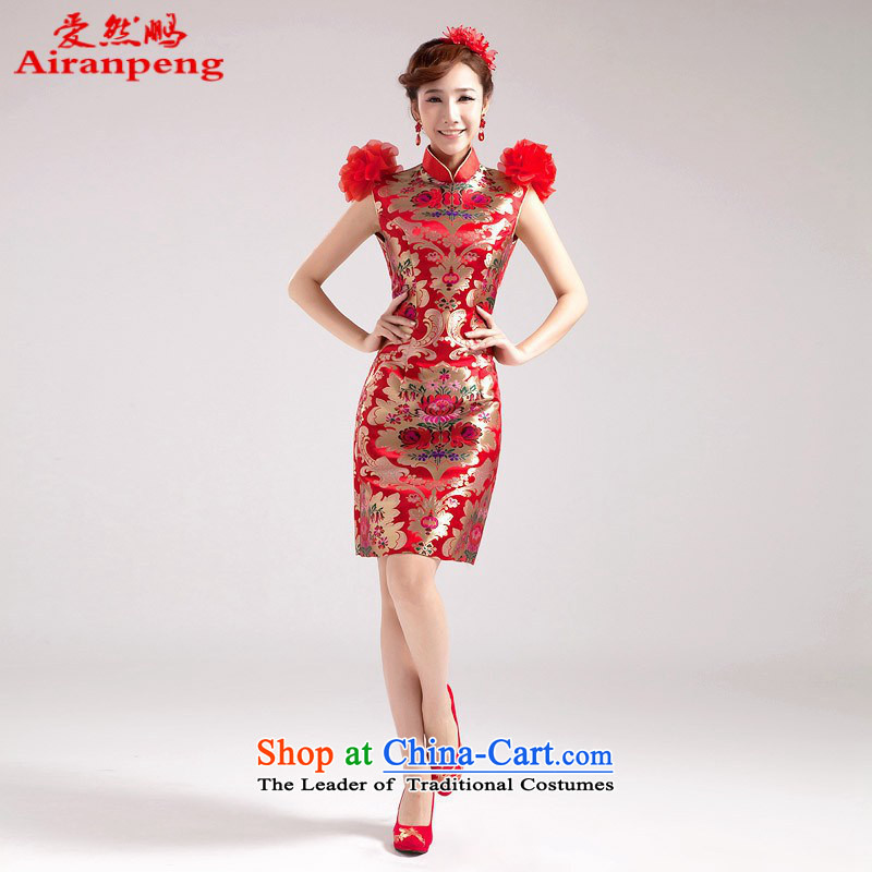 Love So Peng 2014 Summer new improved short of qipao gown shoulders red flowers wedding dresses stereo short of dress?XL package returning