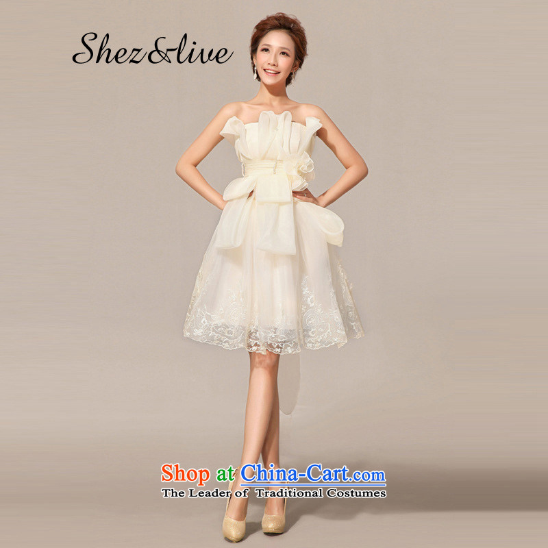 Shez&live women bride bridesmaid wedding dress bows services evening dress Korean short, wedding celebration banquet moderator bon bon champagne color?XL