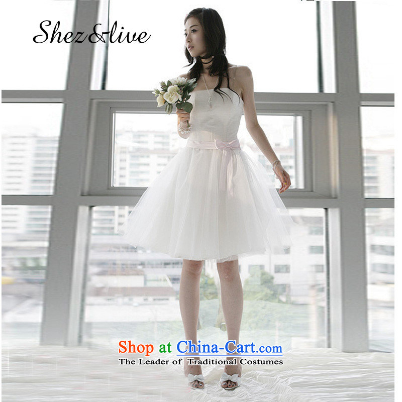 Shez_live women bride wedding dresses, however small short short_ bridesmaid bridesmaid dress skirts serving evening banquet moderator bon bon princess skirt white L