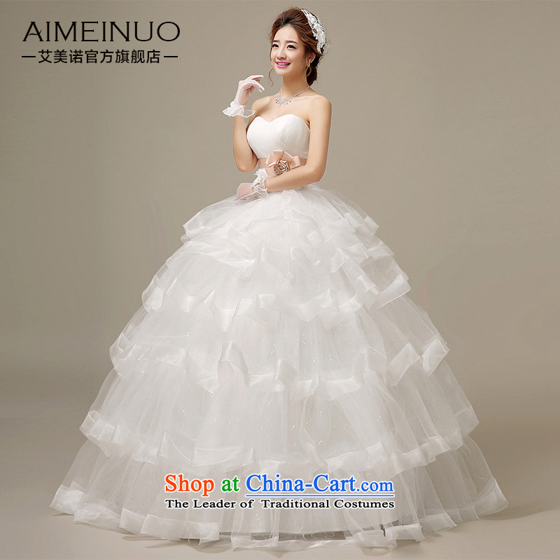 Hiv Miele wedding dresses summer 2015) heart-shaped flower manually chest anointed Sau San video thin layer stack bon bon creases dress straps?H-51?White?XL