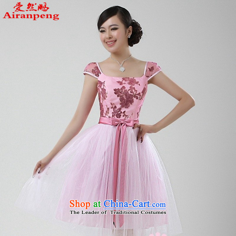 Love So Peng pink video thin shoulders a field shoulder package princess bon bon skirt small dress bridesmaids short of dress A096 pink customer to do not returning the size to