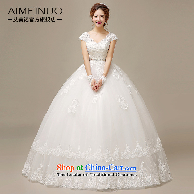 Hiv Miele wedding dresses 2015 new Korean brides wedding lace flowers shoulders a shoulder straps to align graphics Sau San thin?H-52?white?S