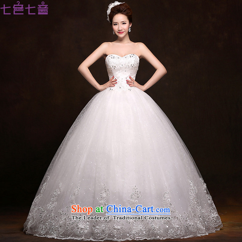 7 Color 7 tone Korean brides new 2015 wedding dresses video thin wiping the Chest Sau San wedding straps to align H036 White M)