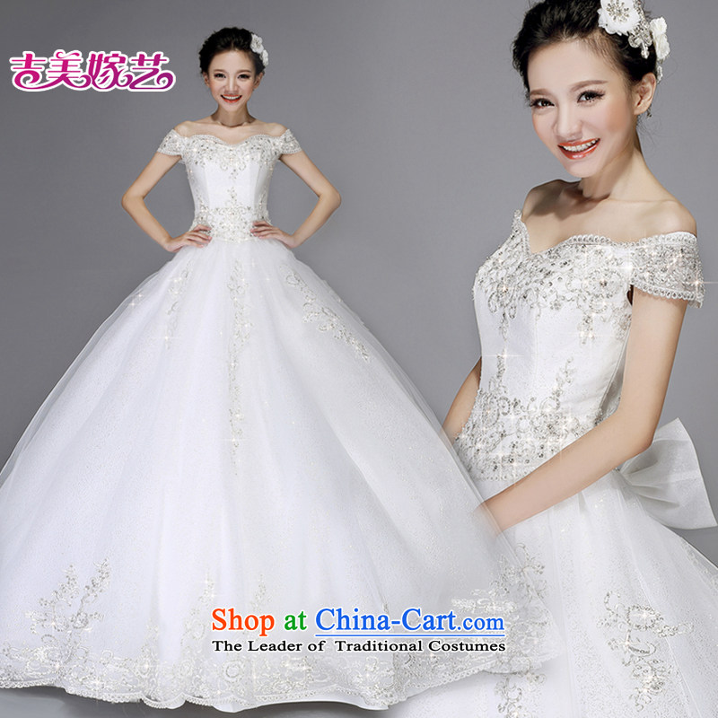 Pre-sale - wedding dresses Kyrgyz-american married arts new 2015 Korean word princess shoulder on chip beads to align HS7529 wedding white?15 day shipping?XXL