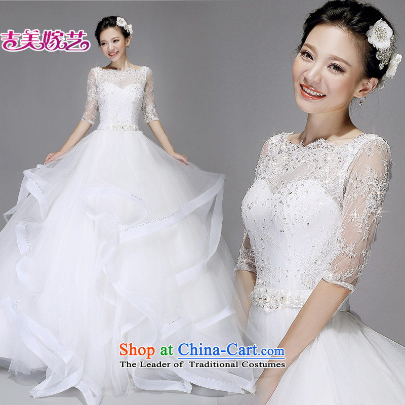 Wedding dress Kyrgyz-american married arts new 2015 Korean word princess shoulder on chip beads to align HS7560 wedding White?XXL