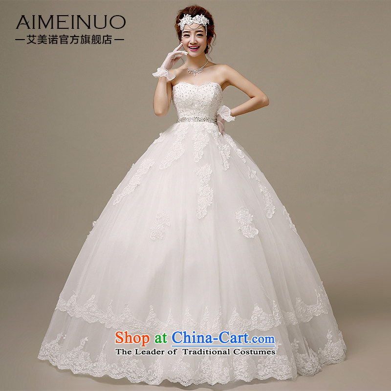 Hiv Miele wedding dresses 2015 new Korean brides wedding lace flowers and chest straps to align graphics Sau San thin?white?M PRINCESS H-50 yarn