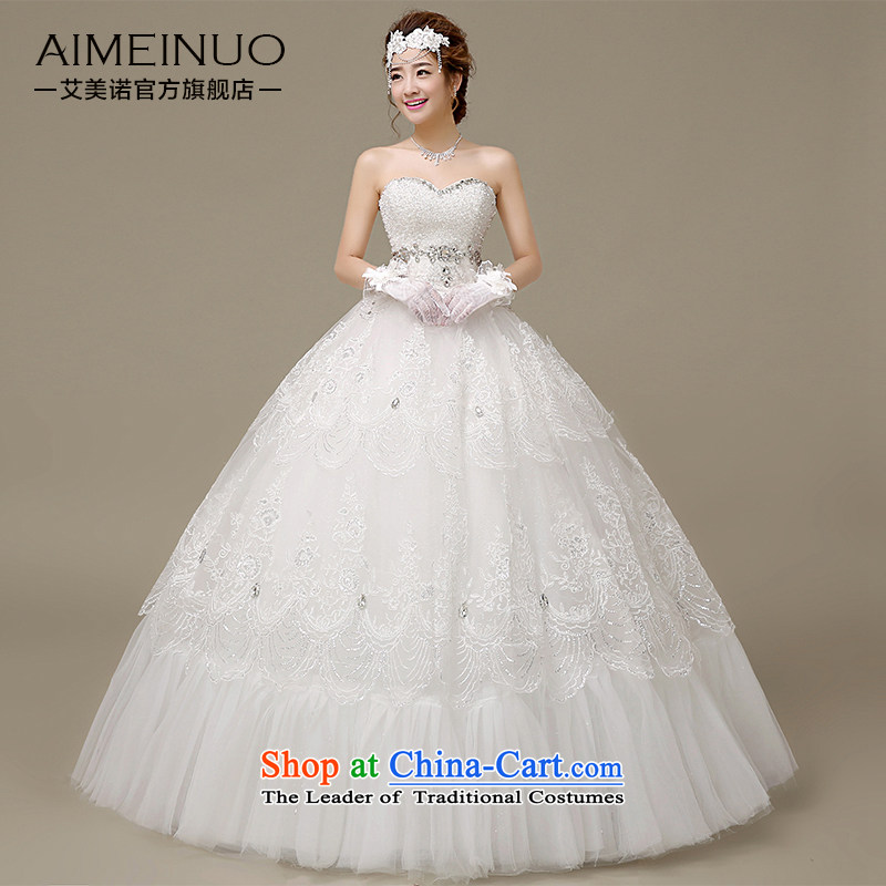Hiv Miele wedding dresses 2015 Spring_Summer water drilling and lace tabs on the Chest straps to align the Korean version of the Princess Bride wedding?H-48?white?L