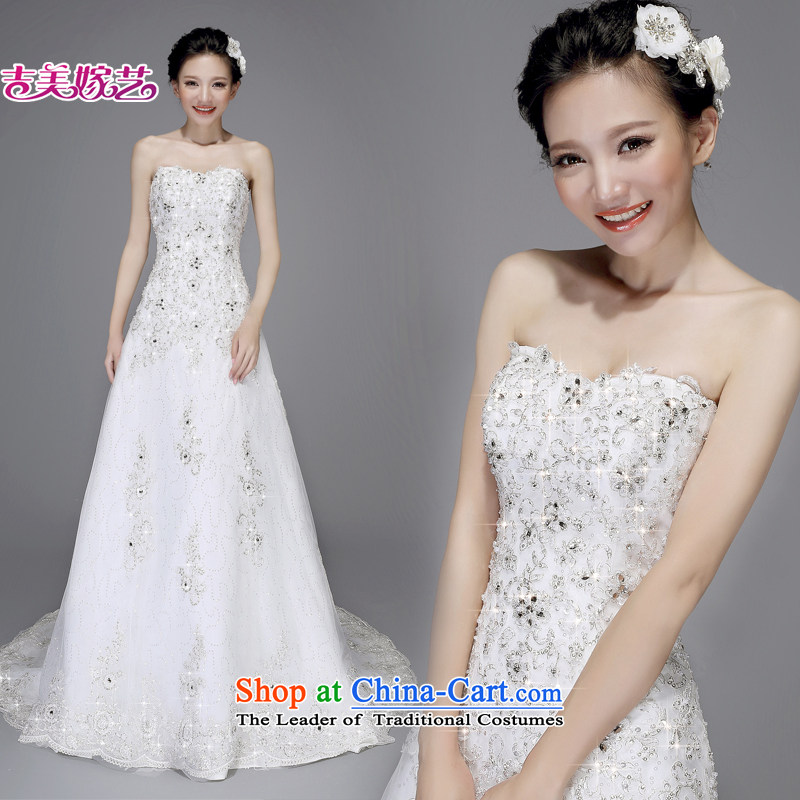 Pre-sale - wedding dresses Kyrgyz-american married new Korean arts 2015 edition anointed chest water drilling A swing small trailing HT7526 bride wedding tail ivory?L