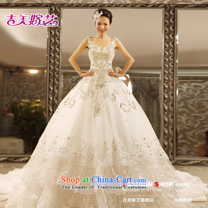 Pre-sale - wedding dresses Kyrgyz-american married arts new 2015 Princess Korean shoulders water drilling tail HT7069 bride wedding?1m tail?XXXL