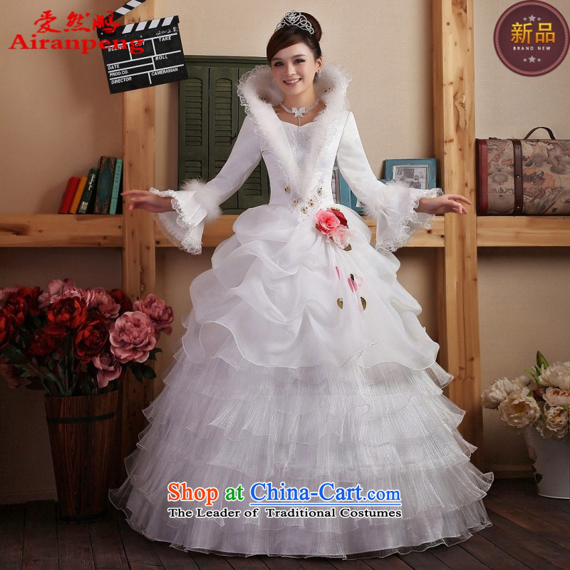 Winter wedding new 2014 Korean wedding dresses long-sleeved plus cotton winter wedding?package returning white L