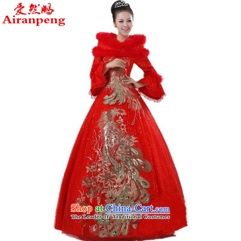 Love So New Peng cotton winter wedding bride winter) red phoenix bridal dresses video thin winter wedding�package returning red L