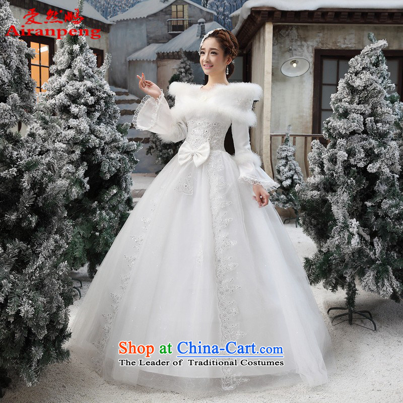 The strap winter wedding dresses winter 2014 new Korean wedding winter long-sleeved gross for thick winter)�L package returning