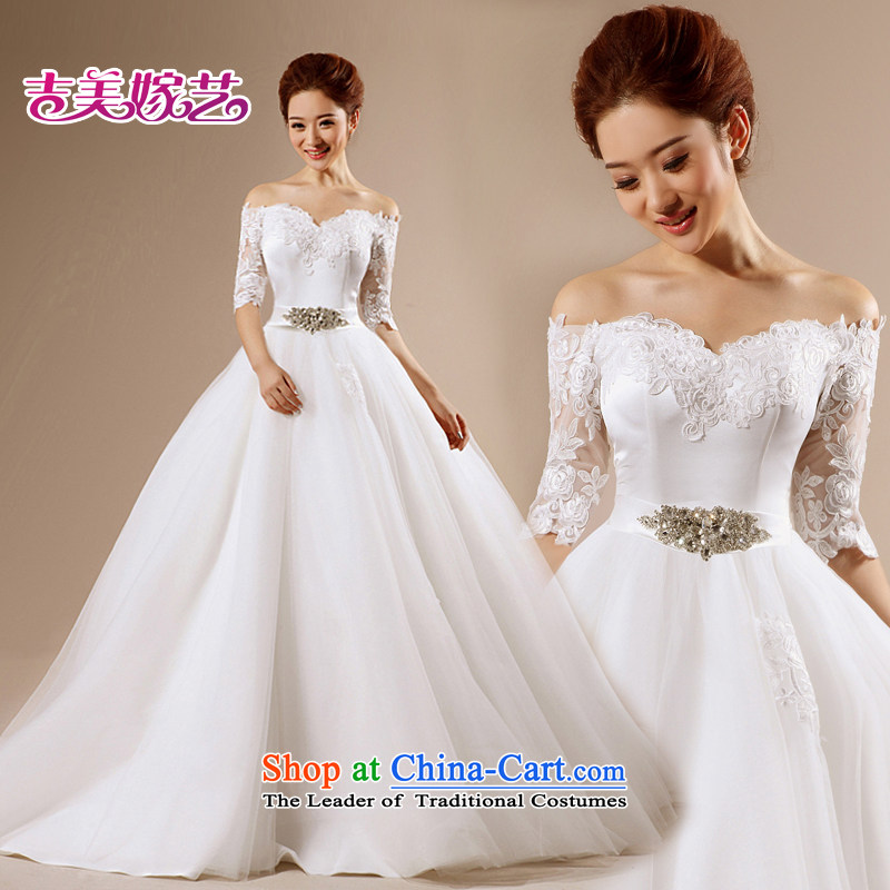 Wedding dress Kyrgyz-american married a NEW 2015 arts field shoulder princess skirt HT7135 tail bride wedding White?M