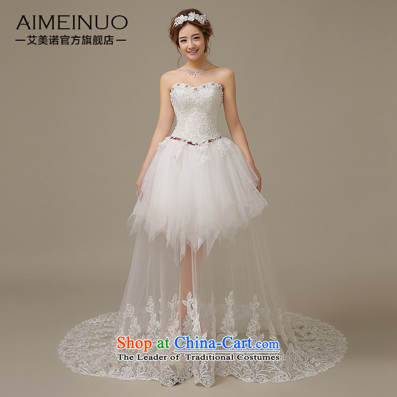 Hiv Miele wedding dresses 2015 Spring_Summer Korean anointed chest lace tabs on short of bride wedding strap style small trailing聽H-62聽white聽L