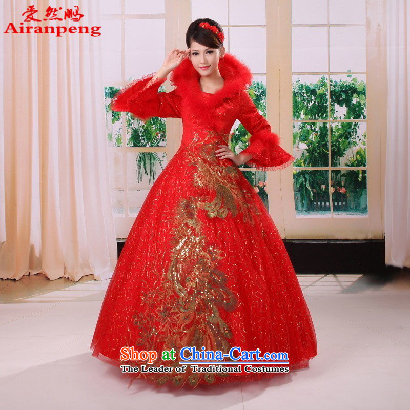 The new winter clothes for cotton with gross wedding winter horn cuff/long-sleeved wedding dresses winter wedding RED�M package returning