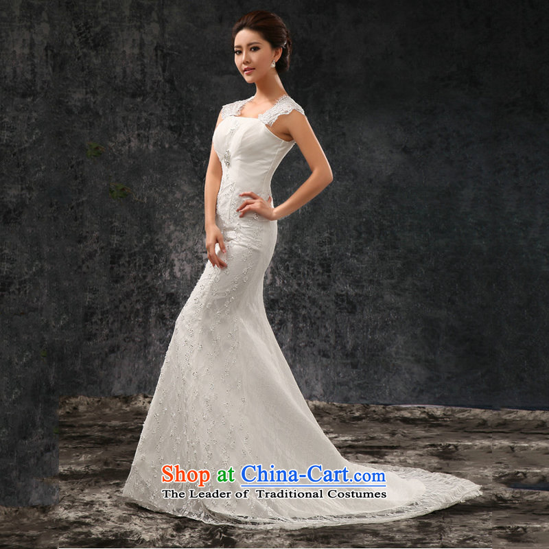 Naoji a bride wedding dresses new small trailing princess wedding Korean sweet crowsfoot wedding AL1488 white?L