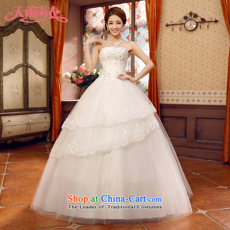 Rain-sang yi 2015 new listing white flowers water drilling sweet to marry Princess Mary Magdalene Chest straps wedding dresses聽HS931聽white Suzhou shipment tailored