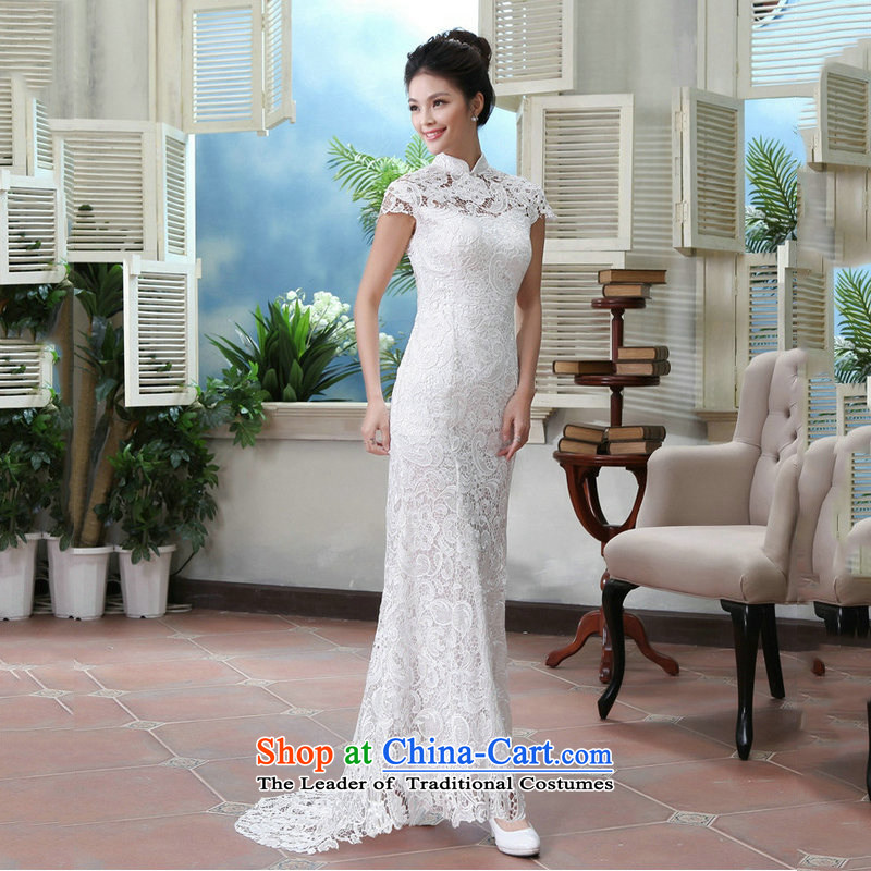 Naoji one field shoulder back evening dresses cheongsam dress marriage yarn bride bows chief stylish crowsfoot AL8985 White?XXL